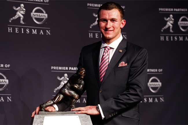 Johnny Manziel will look to become only the second player in history to win the Heisman trophy twice when college football resumes in August.