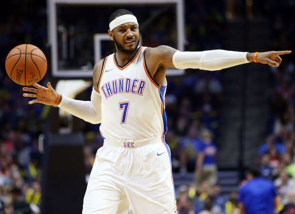 Carmelo Anthony claims Thunder players are 'angry' about poor start