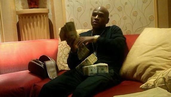Mayweather stacks of money
