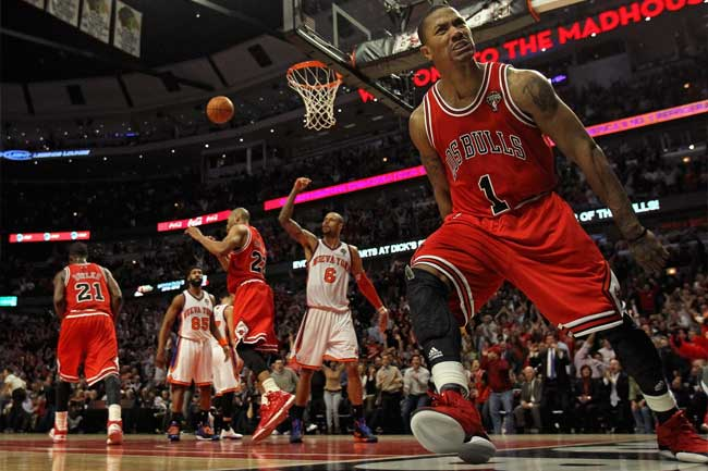 The eagerly-anticipated return of Derrick Rose has the bookmakers thinking the Chicago Bulls will be a threat next season.